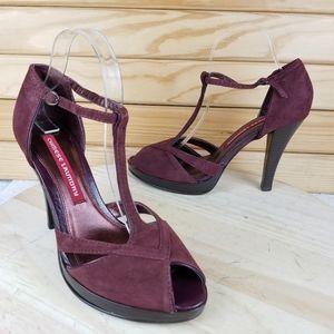 NEW CL Suede Wine High Heels Platform Pump Sandals
